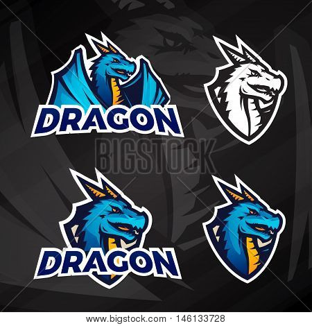 Creative dragon logo concept. Sport mascot design. College league insignia, Asian beast sign, Dragons illustration, School football team vector on dark background.