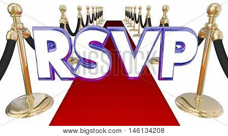 RSVP Reserve Reservation Word Acronym Red Carpet Event 3d Illustration