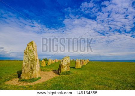 Beautiful view of Ales stones, megalithic monument in Skane, Sweden