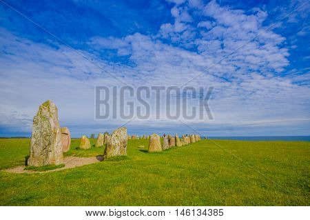 Ales stones, ancient megalithic monument in Skane, Sweden
