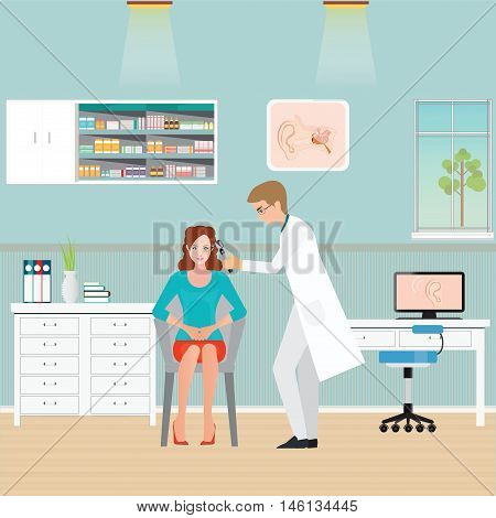 Doctor examining Patient ear with Otoscope nose and throat clinicoffice interior medical health care flat design vector illustration.