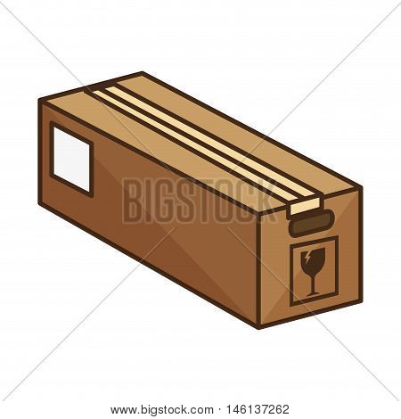 box carton with fragile sign. packing delivery and shipping service. vector illustration