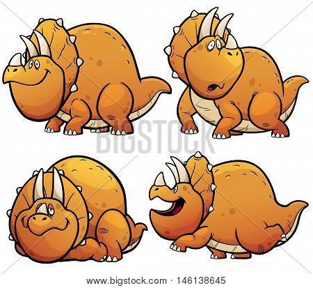Vector illustration of Dinosaurs Cartoon Character Set