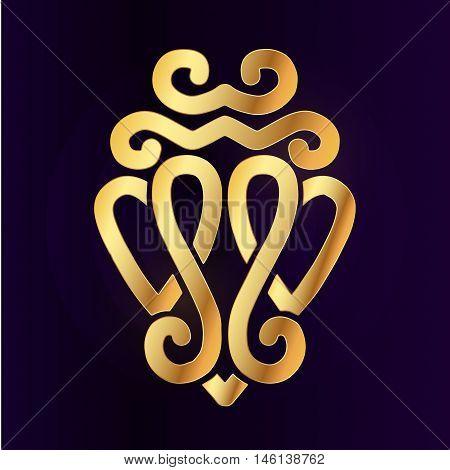 Gold Luckenbooth brooch vector design element. Vintage Scottish two heart shape symbol logo concept. Valentine day or wedding illustration on purple background.