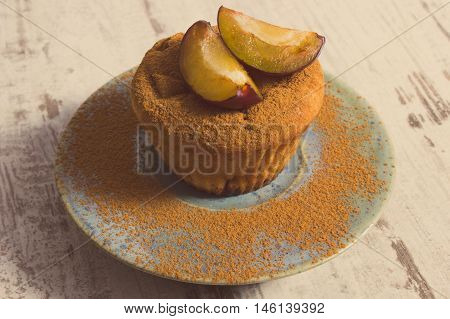 Vintage Photo, Fresh Baked Muffins With Plums And Powdery Cinnamon On Plate, Delicious Dessert