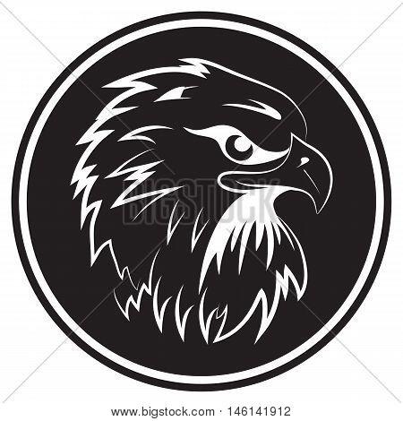 Fighting hawk black background falcon mascot eagle