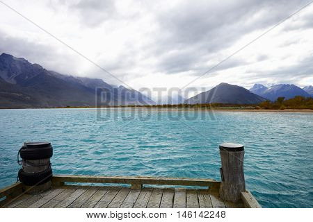 Jetty On Lake Near Queenstown In New Zealand's South Island
