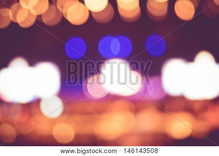 Blurred Background : Bokeh Lighting In Concert With Audience ,music Showbiz Concept