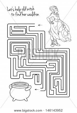Maze game for kids with witch. Let's help this old witch to find his cauldron. Worksheet for class or at home with the kids.