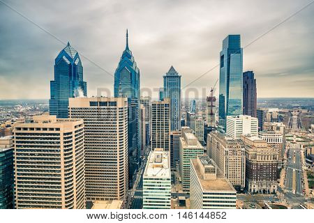 Downtown skyline of Philadelphia USA