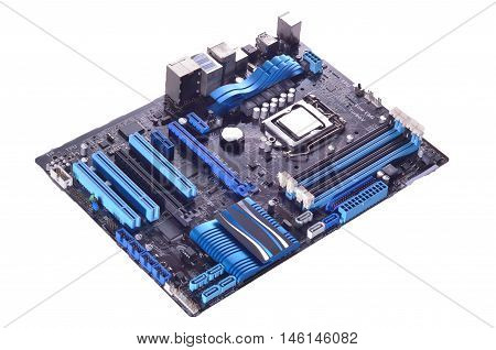 computer motherboard isolated in white background lighting