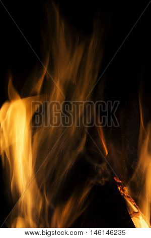 Embers charred in a flame of fire abstract blur background