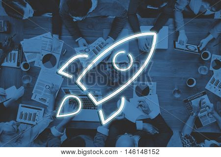 Business Start-up Goals Rocketship Graphic Concept
