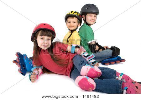 Children In Rollerblade Gear