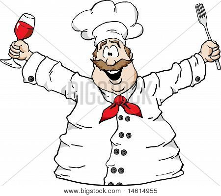Chef With Wine And Fork