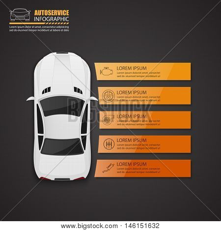 Car auto service infographics design. Vector illustration