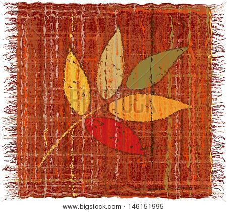 Weave grunge striped colorful tapestry with applique of leafs