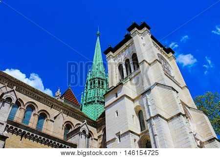 Geneva, Switzerland - June 17, 2016: The St. Pierre Cathedral is a cathedral in Geneva, Switzerland, today belonging to the Reformed Protestant Church of Geneva. Spire of St. Pierre Cathedral