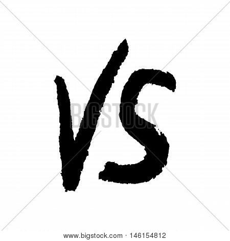 black water color versus sign. concept of relation, together badge, opposite, assault, fighting, war, confrontation, hand drawn painting. sketch style trendy modern design eps10  vector illustration