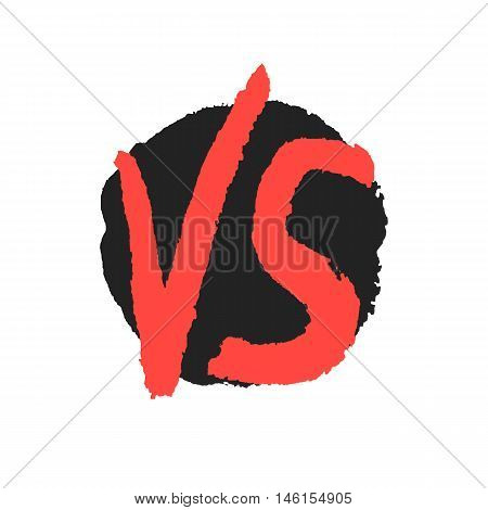 red watercolor versus sign on black stain. concept of relation, together, opposite, assault, fighting, confrontation, hand drawn painting. sketch style modern design eps10 vector illustration