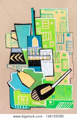 Still-life on green cloth in a cubism manner