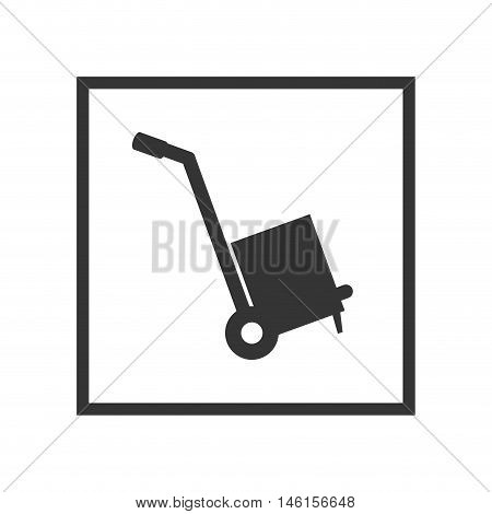 hand cart with a box sign. shipping and delivery service. vector illustration