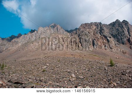 Basalt rock in the Altay mountains with blue sky