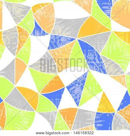 Glass vitrage mosaic kaleidoscopic seamless grunge pattern background bright colors