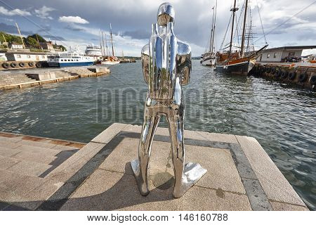 Norway. Oslo harbor with boats and dive. Travel tourism background. Horizontal
