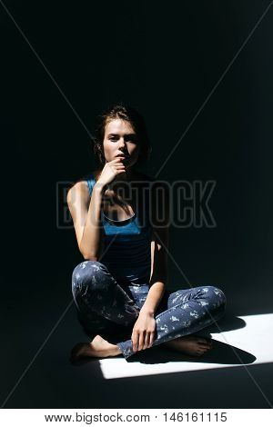 Young Woman In Blue