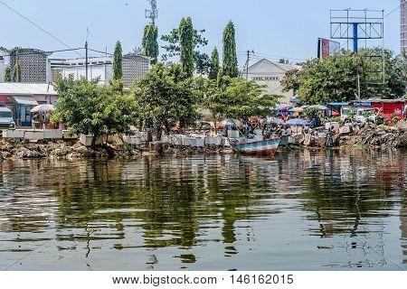 Mwanza,Tanzania,Africa- March 27, 2016: The shore of Mwanza with boats on Lake Victoria Tanzania