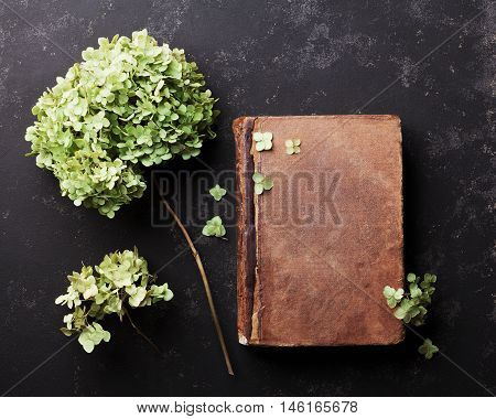 Still life with old book and dried flowers hydrangea on black vintage table top view. Flat lay styling.