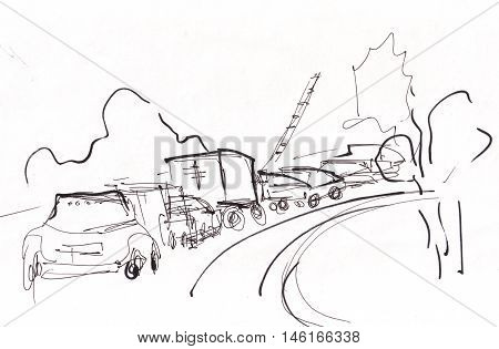 the long automobile stooper near train barrier