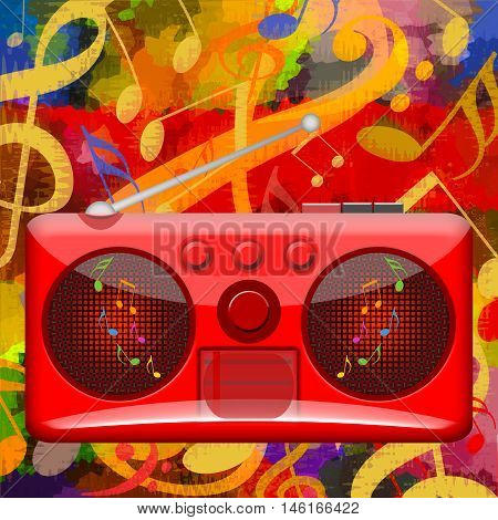Loud boombox on bright street art style background with dancing musical notes