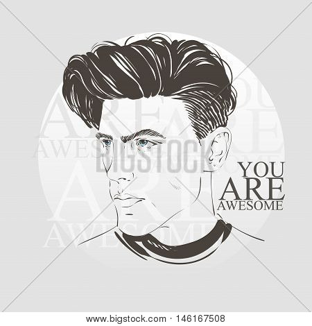 Handsome Hipster Young Man With Fashion Hair Cut. Vector Hand Dawn Illustration.