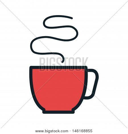 red coffee hot mug beverage. caffeine drink. vector illustration