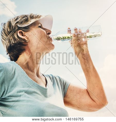 Water Thirsty Refreshment Beverage Drink Senior Concept