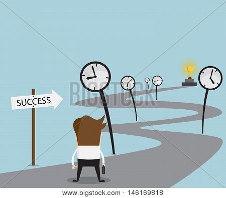 Businessman on The Way of Time To Success Business use Time For Success Concept Cartoon Vector Illustration