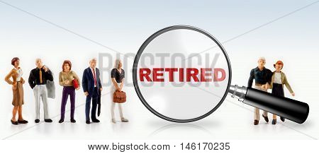 people with the word retired in a magnifying glass -  retired people concept