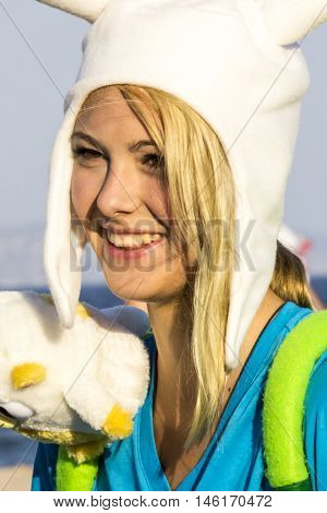 QUARTU S.E., ITALY - August 2, 2015: Beach Cosplay Party - costume parade held at the Marlin Club of Poetto Beach - Sardinia - portrait of a beautiful smiling girl in cosplay costume