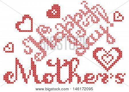 Illustration Happy mothers day with hearts, embroidery, lettering