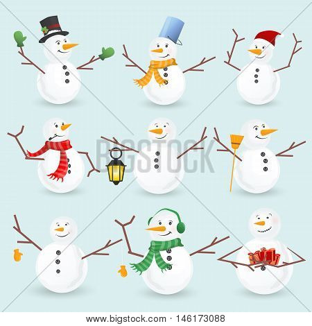 Winter christmas snowmans collection. Vector illustration. Funny snowman set isolated on white background. Cartoon snowman greeting.