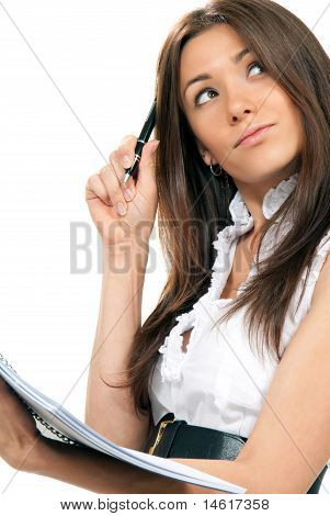 Business Woman With Pen In The Hand Notebook