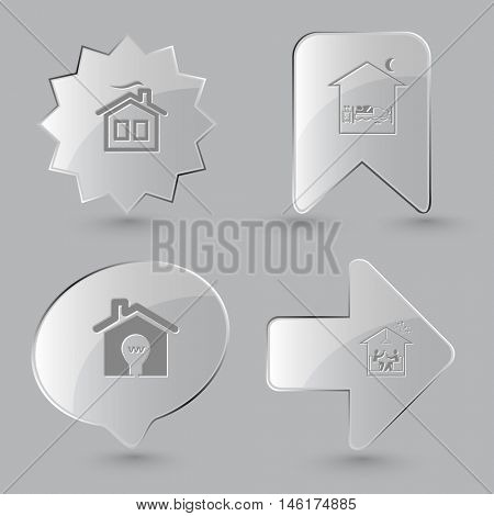 4 images:  bedroom, light in home, home celebration. Home set. Glass buttons on gray background. Vector icons.