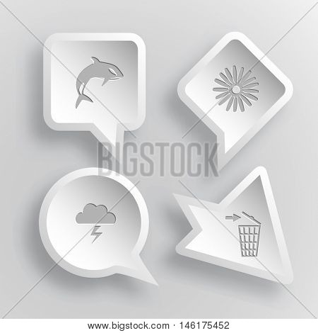4 images: killer whale, camomile, thunderstorm, recycling bin. Nature set. Paper stickers. Vector illustration icons.