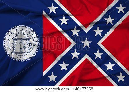 Waving Flag Of Georgia State (1956-2001), Usa