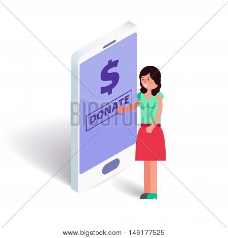 Young female pushing donate button on smartphone. Girl subscribes mone for charity or crowdfunding via internet on cell phone. Vector stock illustration