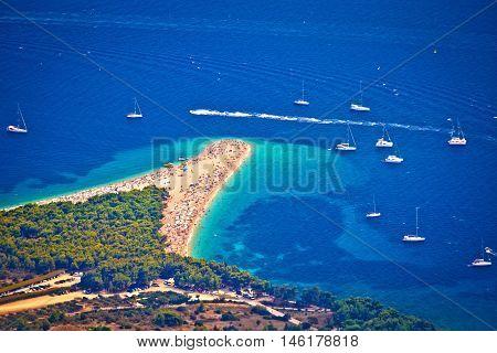 Zlatni rat beach aerial view Island of Brac Dalmatia Croatia