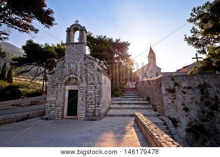 Stone chappel and church in Bol island of Brac Dalmatia Croatia