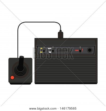 Vector Home Video Game Console Icon Illustration. Geek Gaming Retro Gadget From The Nineties. Old En